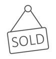 sold thin line icon real estate and home sale vector image vector image