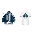 space badge with spaceship rocket launch vintage vector image vector image