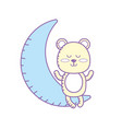 teddy bear seated in the moon vector image vector image