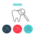 tooth magnifying glass icon vector image