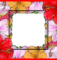 tropical flowers square frame in sketch style vector image vector image
