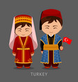 turks in national dress with a flag vector image vector image