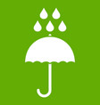 umbrella and rain drops icon green vector image vector image