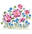watercolor flowers violets and pansy and leaves vector image vector image