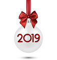white 2019 new year christmas ball with red satin vector image vector image