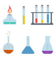 chemical flasks isolated on a white background vector image