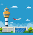 airport terminal with control tower vector image vector image