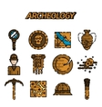 Archeology flat icon set vector image