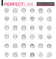 avatar thin line web icons set people head vector image vector image