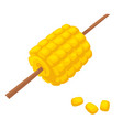 baked or boiled corn on wooden stick food vector image vector image