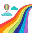 Balloon in sky cardCloud rainbow and balloon card vector image