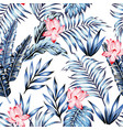 blue tropical leaves pink flowers white background vector image vector image