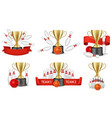 bowling tournament reward set isolated vector image