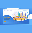 bus vehicle with place interest or attractions vector image vector image