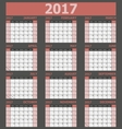 Calendar 2017 week starts on Sunday red tone vector image vector image