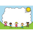 cartoon kids jumping on background sky vector image vector image