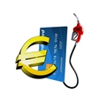 Credit card with gasoline nozzle and euro sign vector image vector image