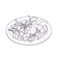 delicious salad with seafood and vegetables on vector image