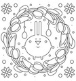 easter wreath rabbit coloring page vector image vector image