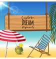 explore dream discover typography inscription with vector image vector image