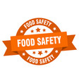 food safety ribbon food safety round orange sign vector image vector image