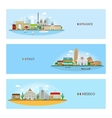 France Italy and Mexico skyline vector image vector image