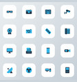 gadget icons colored set with printer video vector image