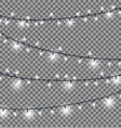 garlands with round bulbs on dark background vector image vector image