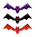 halloween black red purple flying bat icon set vector image