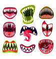 halloween monster mouths teeth and tongues set vector image vector image