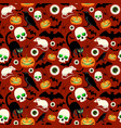 halloween seamless pattern with different symbols vector image