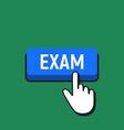 hand mouse cursor clicks the exam button vector image