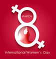 happy women day greeting card on red background vector image vector image