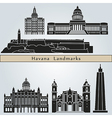 Havana landmarks and monuments vector image vector image