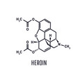 heroin diacetylmorphin structural chemical vector image vector image