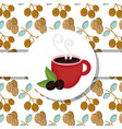 hot cup and seeds fresh beverage coffee time label vector image