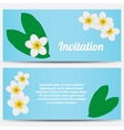 Invitation with tropical plumeria on a blue vector image