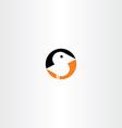 little bird icon black orange vector image vector image