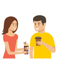 man and woman are holding coffee cups vector image