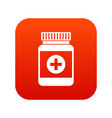 medicine bottle icon digital red vector image vector image