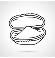 Opened oyster black line icon vector image