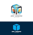 Orange blue 3d cube logo icon design vector image vector image
