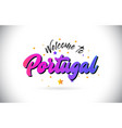 portugal welcome to word text with purple pink vector image