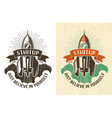 retro logo with a rising rocket vector image vector image