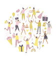 round shaped composition with cheerful people at vector image