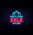 sale neon sign and discount concept bright vector image vector image