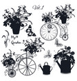 set engraved bicycles and garden flowers vector image vector image
