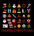 set pixel art christmas icons vector image