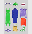 summer mode set of clothes and vogue accessories vector image
