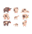 toy simple geometric farm cows standing and laying vector image vector image